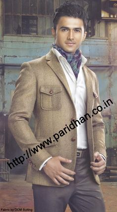 Party wear tweed coat made from brown green herringbon color tweed pure wool fabric. Beautiful look in two button stylish jacket.