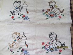 Lot of 16 Vintage Hand Embroidered 7 x 7 by EvenTheKitchenSinkOH