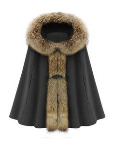 Hooded Faux Fur Collar Warm Women Cape Winter Coat Camel & Jackets / Coats - at Jollychic