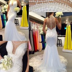 2016 New Arrival Pearls Mermaid Wedding Dresses Halter Neck Sheer Illusion Back Mermaid Novia Sexy Hand Beading Bridal Gowns Beach Wedding Gowns Crystal Weeding Dress Berta 2015 Bridal Gowns Online with 164.0/Piece on Magicdress2011's Store | DHgate.com