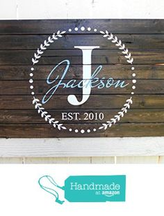 24x30 Custom Established Name Sign - Wedding Date Sign - Pallet Sign - Monogram Sign from Pretty Painted Signs http://www.amazon.com/dp/B015Z4WB1Q/ref=hnd_sw_r_pi_dp_G.-hwb1XDVEC0 #handmadeatamazon
