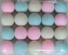 8,7 + 6,44 Rose chaîne boule de coton de 20 blanc bleu s'allume pour Patio, mariage, fête, nouvel an