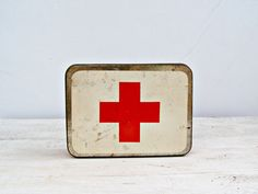 Red Cross First Aid tin Box Vintage first aid kit box by MeshuMaSH