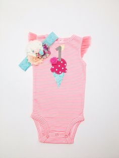 Ice cream onesie. Girls 1st birthday outfit. by LindseyLeeandCo