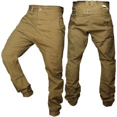 Mens-Drop-Crotch-Carrot-Fit-Cuffed-Hem-Chino-Soulstar-Combat-Trousers-Pants-New
