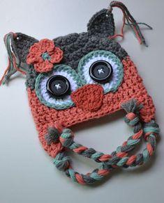 Crochet Baby Hats baby hat crochet baby hat girl hat owl hat by VioletandSassafras - Crochet Owl Hat, Bonnet Crochet, Crochet Kids Hats, Crochet Girls, Crochet Baby Booties, Cute Crochet, Crochet Crafts, Crochet Projects, Knit Crochet