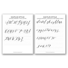 Kaitlyn Style Calligraphy worksheet--Be sure and download both files {upon checking out, you will be provided with both}. The files are split into a PDF covering capital letters, and a PDF covering lowercase letters/numbers/symbols.  For a much more comprehensive worksheet, check out the Kaitlin Style Premium Worksheet Set!