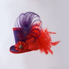 Alice in wonderlad, mad hatter hat,fascinator,bachelorette party,Burlesque hat,Gothic,Steampunk hat,Showgirl, Purple and Red Mini Top Hat by MiniTopHatBoutique on Etsy, $35.00