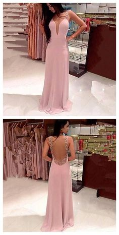 Women's Sexy Deep V Neck Backless Strap Pink Formal Maxi Dress