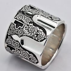 Hand Engraved Revolver Ring by ReactionDesigns on Etsy