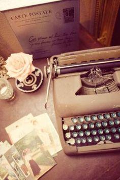 vintage typewriter and postcards - Living lusciously.jpg