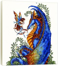 Tree-Free Greetings EcoArt Wall Plaque, 11.25 x 11.25 Inches, Curiosity Dragon and Fairy by Amy Brown (83544)