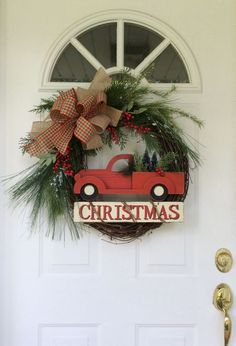 Old Fashioned Christmas Teardrop Swag - Red Plaid Traditional Christmas Wreath - Christmas Front Door Decorations Christmas Wreaths For Front Door, Diy Christmas Tree, Holiday Wreaths, Christmas Decorations, Holiday Decor, Christmas Music, Christmas Ideas, Coastal Christmas, Christmas Centerpieces
