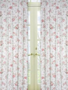 Rileys Roses Shabby Chic Sage and Pink Floral Curtain Panels