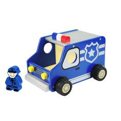 I'm Toy Police Car.  When the red & blue lights are flashing, make way for a policeman/women is on the move.  A great vehicle to encourage children's imagination and role play, also to discuss the importance of having policeman/women.  Made from sustainable rubber wood, finished with non-toxic paint.  16cm x 20.5cm x 14cm  Ages 18m+