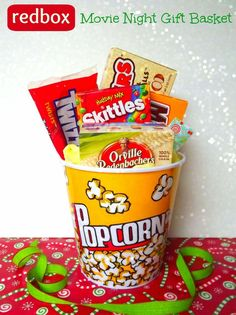 Movie Night Gift Basket - Great idea for a house warming gift for the first movie night in their new home