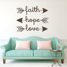 """Wall Decal Decor Family Wall Decal Quote - Faith Hope Love - Bible Verses Arrow Art Mural Psalms Vinyl Stickers Bedroom Bohemian Decor Living Room (Black, 13\""""h x16\""""w) >>> Find out more about the great product at the image link."""