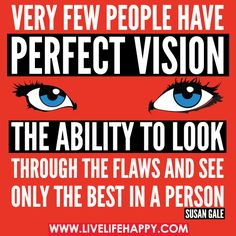 Very few people have perfect vision - the ability to look through the flaws and see only the best in a person. -Susan Gale