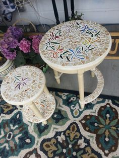 Check out this item in my Etsy shop https://www.etsy.com/listing/398288997/handmade-mosaic-nesting-tables-flower