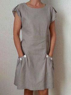 Casual Linen Dress Short Sleeve Pockets Buttoned Mini Dresses Women Zen Tops V Neck Shirt Casual Blouse Cotton T-shirt Casual Dresses For Women, Short Sleeve Dresses, Clothes For Women, Long Sleeve, Elegant Dresses, Formal Dresses, Tops Boho, Sexy Bluse, Mini Robes