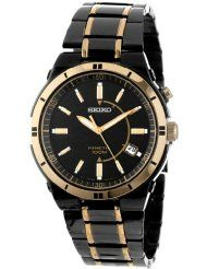 Seiko Men's Kinetic Black Ion Watch: Watches: seiko watches for men Sport Watches, Cool Watches, Watches For Men, Citizen Watches, Wrist Watches, Black And Gold Watch, Seiko Men, Seiko Watches, Stylish Men