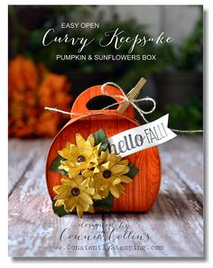 Easy Open Pumpkins & Sunflowers Curvy Keepsake Box, Flower Fair framelits, Hardwood background