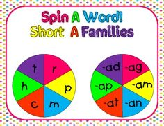 Spin A Word--Short Vowel Word Family Activities