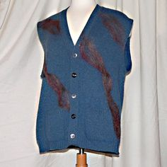 Blue Needle Felted Upcycled Vest Wool Vest by MorningStarArts