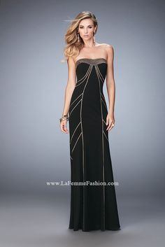 You are sure to feel glamorous and beautiful in La Femme Style #22321 available at Whatchamacallit Boutique