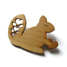 Happy Squirrel - Bamboo - Wood Brooch - Wood Pin - Laser Cut. $14.00, via Etsy.