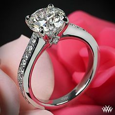 """Scarlet gets your heart racing!     featured here is our Platinum """"Scarlet"""" Diamond Engagement Ring with 20 A CUT ABOVE® Hearts and Arrows Diamond Melee (0.30ctw F/G VS) and 2 Surprise Princess Diamond Melee set with a stunning 1.702 G VS2 Round Ideal Diamond center stone"""