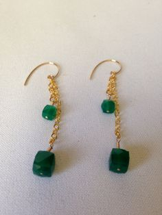 Gold Filled Green Onyx Dangle Earrings by AquaEleganceJewelry, $45.00