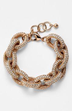 Pave Link Bracelet Rose Gold