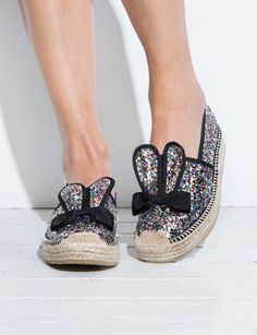 OMG so cute glitter espadrille platform flats with bunny ear front. Wow any outfit with these cute espadrille slide flats. *1.5