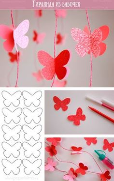 Guirnalda Mariposas de Papel - My Decor - Home Decor Ideas SchoolParty Arts and Science Activities Sharing Site Easy spring crafts: 20 ideas for good weather Make red garlands with paper butterflies, beautiful decoration for the nursery Source by michaelh How To Make Butterfly, Butterfly Party, Butterfly Crafts, Diy Butterfly Decorations, Butterfly Canvas, Origami Decoration, Butterfly Mobile, Wedding Decorations, Kids Crafts