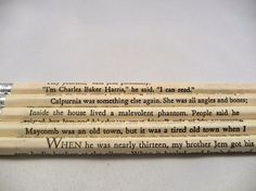 To Kill a Mockingbird pencils on etsy.  You can even specify the pages you want when you order.  Oh, how I love these.