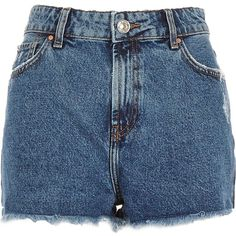 River Island Mid wash high waisted Darcy denim shorts ($24) ❤ liked on Polyvore featuring shorts, bottoms, denim shorts, blue, sale, river island, zipper pocket shorts, denim short shorts and blue jean shorts