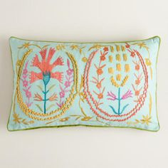 White Flower Suzani Embroidered Lumbar Pillow