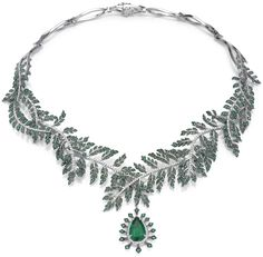 Asprey Fern Necklace with emerald pendant. The Fern Necklace with fern branches and leaves hinged and intertwined, set with emeralds and diamonds leading to a removable emerald and diamond pendant, set with a pear shaped emerald, suspended within a diamond frame. All set in platinum with black rhodium highlights.