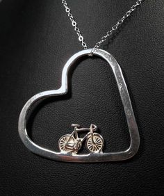 Bicycle Jewelry - Bike In My Heart Pendant. $60.00, via Etsy.