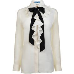 PRADA Silk Frill Contrast Tie Shirt (985 BRL) ❤ liked on Polyvore featuring tops, blouses, shirts, blusas, prada, prada shirts, frilly blouse, bow tie neck blouse, silk button-down blouses and silk ruffle blouse