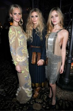 the blondes --  poppy delevigne, a courtin-clarins (?), and georgia jagger