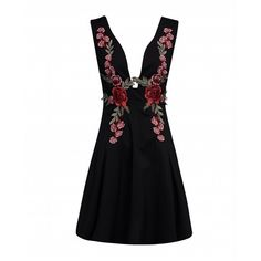 Choies Black Deep V-neck Embroidered Detail Open Back Dress ($20) ❤ liked on Polyvore featuring dresses, black, deep v neckline dress, broderie dress, low v neck dress, open back dresses and embroidered dress