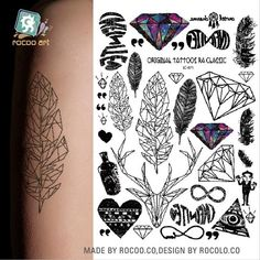 2017 Rushed Lc-871 Big Black Tatuagem Taty Body Art Temporary Tattoo Stickers Feather Rainbow Diamond Glitter Tatoo Sticker