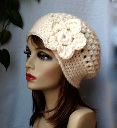 SALE Crochet Slouchy Beret, Womens Hat, Off White Cream, Pick Your Color, Chunky, Warm, Teens, Birthday Gifts for Her JE505BTF2. $35.00, via Etsy.