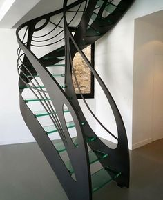 This glass staircase in Art Nouveau style is an original creation by Jean Luc Chevallier for La Stylique. Grand Staircase, Staircase Design, Stair Design, Architecture Details, Interior Architecture, Stair Handrail, Railings, Escalier Design, Verre Design