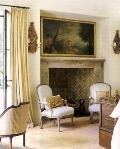 Old World Charm In Texas. Interior Design by Eleanor Cummings Veranda April 2010 Herringbone Fireplace, Bookcase With Glass Doors, Eleanor, Fireplace Mantle, Fireplace Seating, Limestone Fireplace, Bedroom Fireplace, Fireplace Design, French Country House