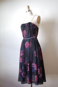 vintage 1970s sundress / black floral dress / Poppy Nouveau sundress.