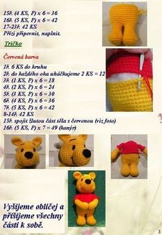 Malý medvídek Pú Crochet Dolls Free Patterns, Crochet Toys, Decoupage, Diy And Crafts, Teddy Bear, Blog, Animals, Charts, Rose