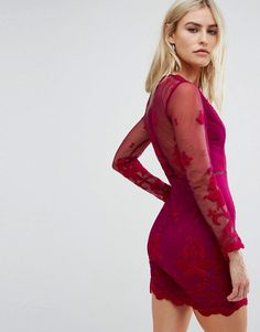 Love Triangle Long Sleeve Embroidred Mesh Mini Dress With Plunge Neck  | #christmasdress | #newyearseveoutfit | #partydress
